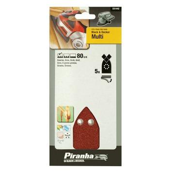 Piranha schuurpapier X31442 K80 (5 stuks) voor B&D Multi schuurmachine