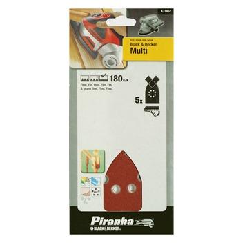 Piranha schuurpapier X31452 K180 (5 stuks) voor B&D Multi schuurmachine
