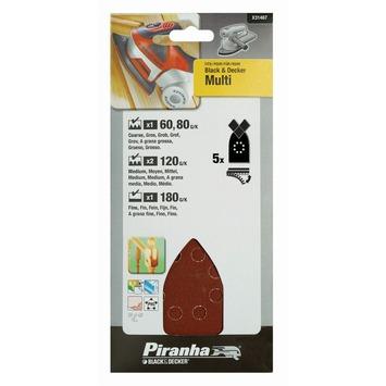 Piranha schuurpapier X31467 K60/80/120/180 (set 5 stuks) voor B&D Multi schuurmachine
