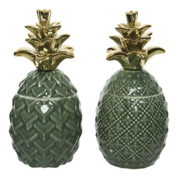 Bewaarpot Ananas Porselein assorti