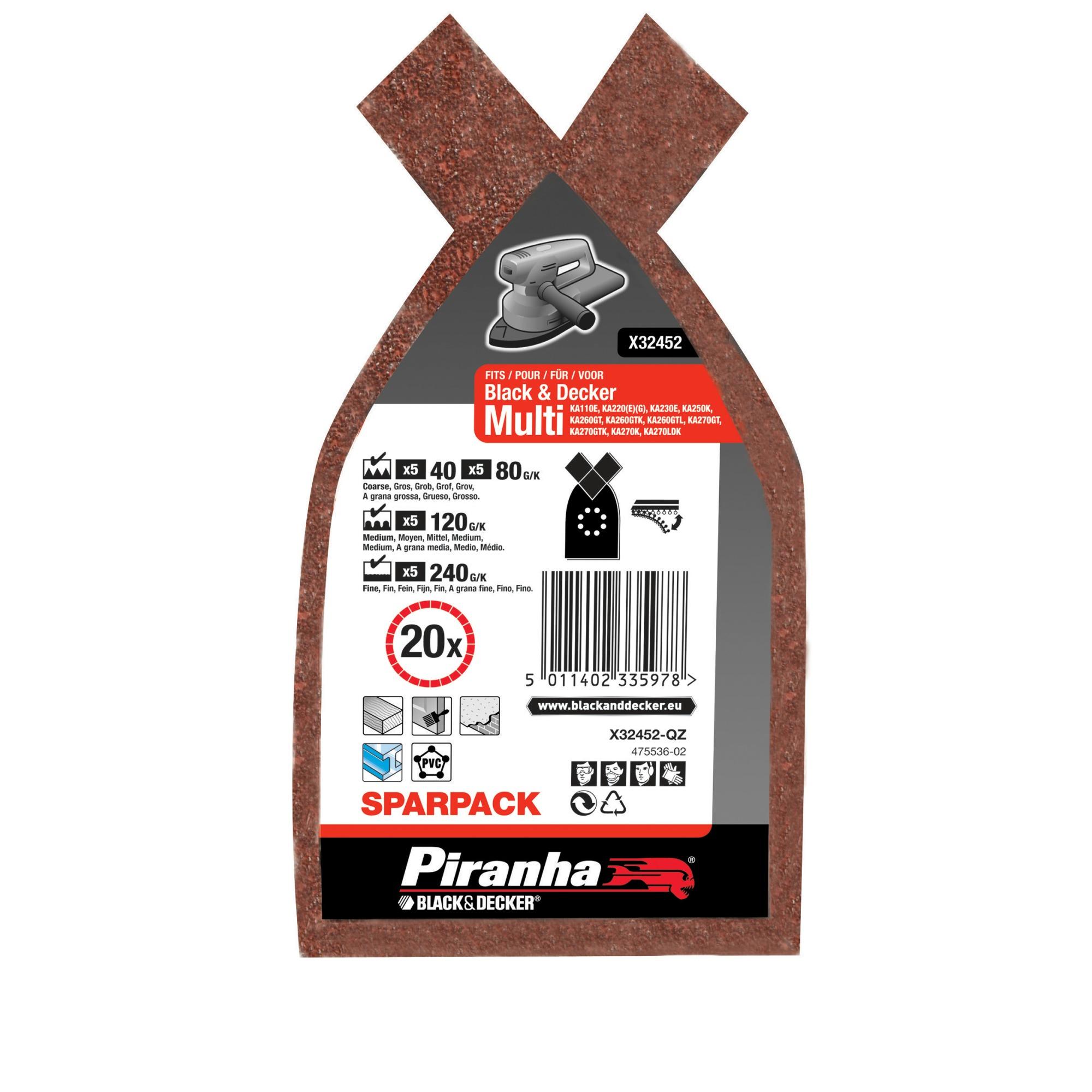 Piranha schuurpapier X32452 K40/80/120/240 170x100 mm (set 20 stuks) voor Multi