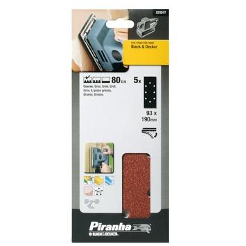 Piranha schuurpapier X31517 1/3 vel K80 187x93 mm (5 stuks)