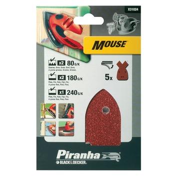 Piranha schuurpapier X31024 K80/180/240 (set 5 stuks) voor B&D Mouse