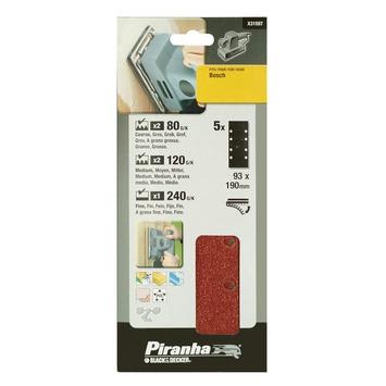 Piranha schuurpapier X31597 K80/120/240 187x93 mm (set 5 stuks)