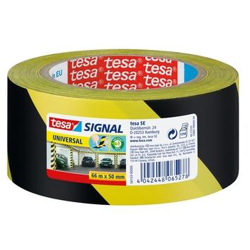 Tesa Signal waarschuwingstape 66mx50mm geel met zwart