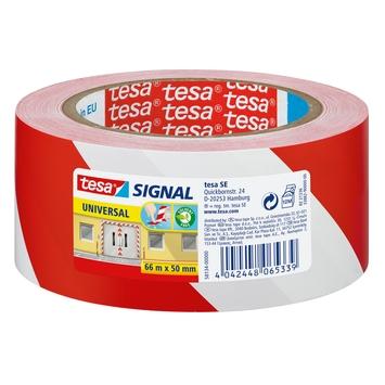 Tesa Signal waarschuwingstape 66mx50mm rood met wit