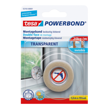 Tesa Powerbond montagetape 1,5mx19mm transparant
