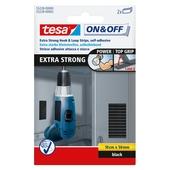 Tesa On&Off klittenband strips zwart 50 mm / 10 cm