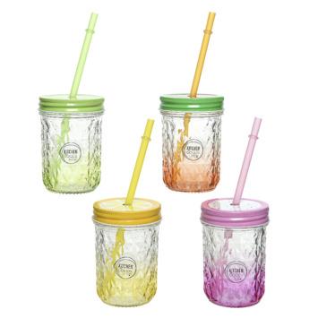 Drinkglas met rietje - kleur assorti