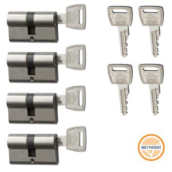 Nemef veiligheidscilinder 30/30 mm SKG 3-sterren gelijksluitend (4 stuks)