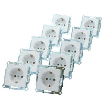 Merten System-M Pure voordeelpack inbouw enkel geaard Stopcontact 10 stuks