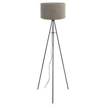 Vloerlamp Mason Ø58x150 cm mat zwart + grijs velours
