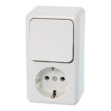 Schneider Electric Merten Contura Opbouw combi wandcontactdoos/wissel RA wit