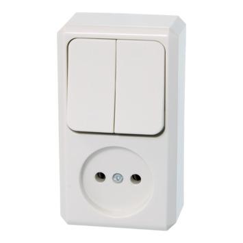 Schneider Electric Merten Contura Opbouw combi wandcontactdoos/serie wit