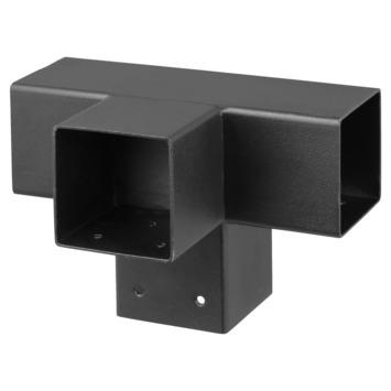 Paalhouder voor pergola T-verbindingsstuk 4-kants 7x7 cm zwart