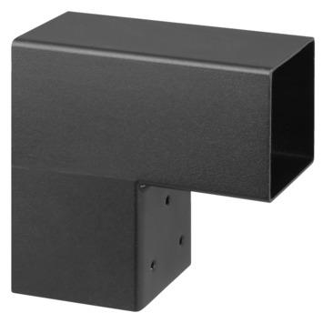 Paalhouder voor pergola hoekstuk 2-kants 7x7 cm zwart