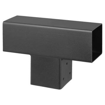 Paalhouder voor pergola T-verbindingsstuk 3-kants 7x7 cm zwart