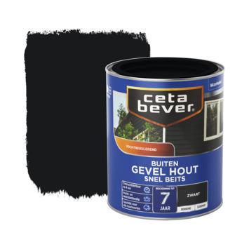 Cetabever Snel beits Gevel hout dekkend zijdemat zwart 750 ml