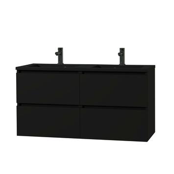 Tiger Karlo badkamermeubel 120 cm Mat Zwart met zwarte wastafel