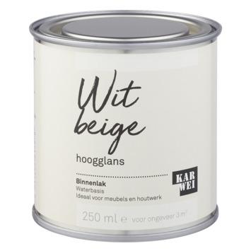 Karwei binnenlak hoogglans 250 ml wit beige