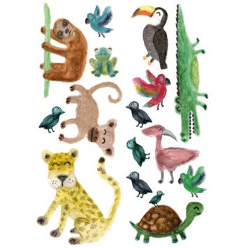 Muursticker jungle dieren 15 stuks