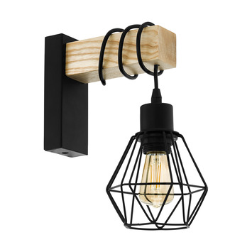 EGLO wandlamp Townshend 5-E27 zwart/hout