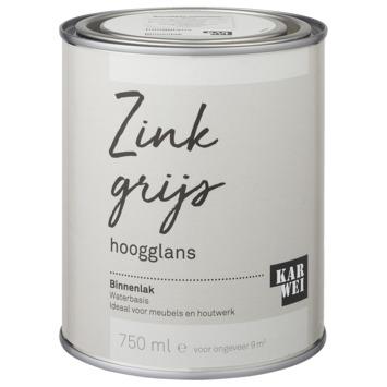 Karwei binnenlak hoogglans 750 ml zink grijs