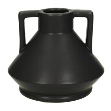 Zwarte aardewerk vaas 14.5x14.5x12.5cm