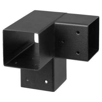 Paalhouder voor pergola hoekstuk 3-kants 7x7 cm zwart