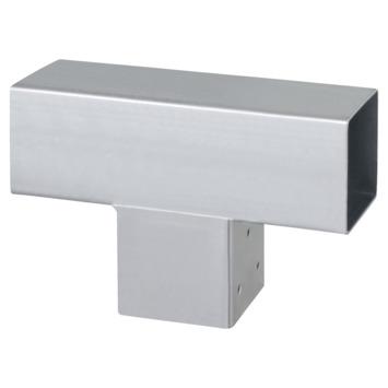Paalhouder voor pergola T-verbindingsstuk 3-kants 9x9 cm gegalvaniseerd