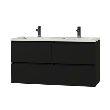 Tiger Karlo badkamermeubel 120 cm Mat Zwart met witte wastafel