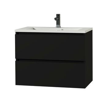 Tiger Karlo badkamermeubel 80 cm Mat Zwart met witte wastafel