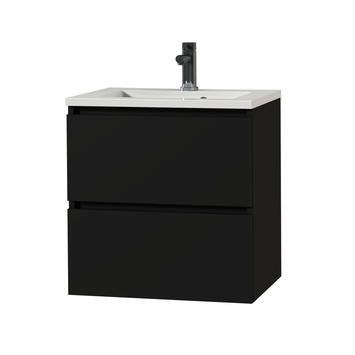 Tiger Karlo badkamermeubel 60 cm Mat Zwart met witte wastafel