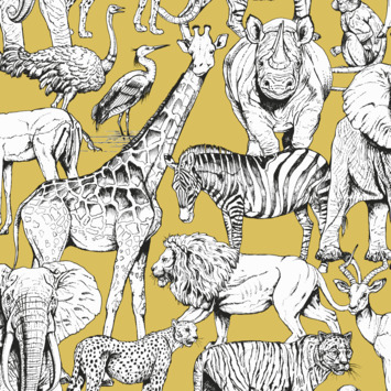 Vliesbehang jungle dieren geel (dessin 107691)