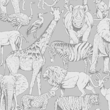 Vliesbehang jungle dieren grijs (dessin 108567)