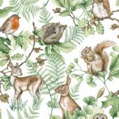 Vliesbehang woodland dieren naturel (dessin 108569)