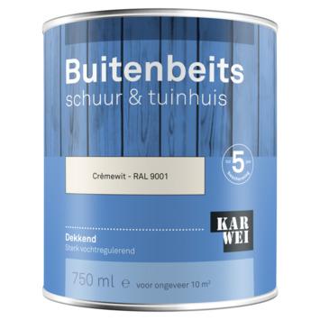 KARWEI buitenbeits schuur & tuinhuis dekkend RAL 9001 crème wit 750 ml