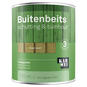 KARWEI buitenbeits schutting & tuinhout transparant green wash 750 ml