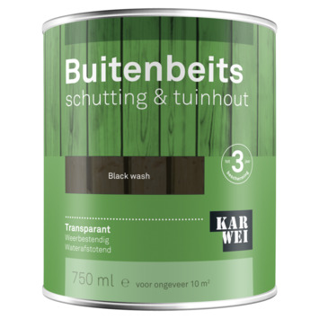 KARWEI buitenbeits schutting & tuinhout transparant black wash 750 ml