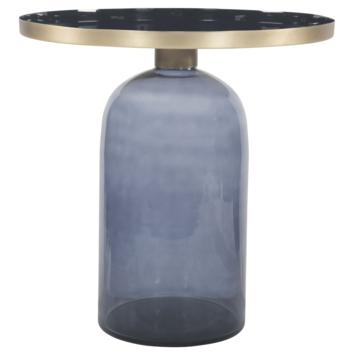 Bijzettafel Soof glas metaal blauw