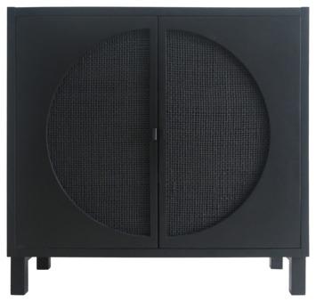 Kast Amelie webbing 2-deurs zwart, zwarte greep