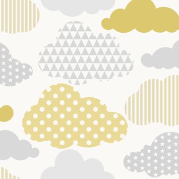 Vliesbehang wolken geel-grijs (dessin 108267)