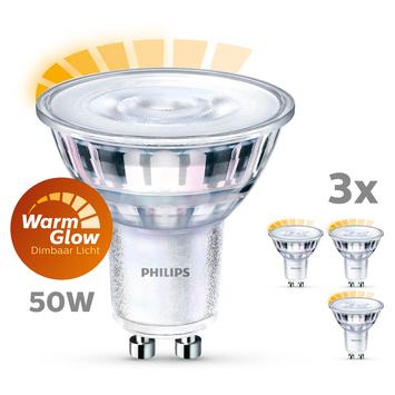 Philips LED spot GU10 50W 3 stuks warmglow dimbaar