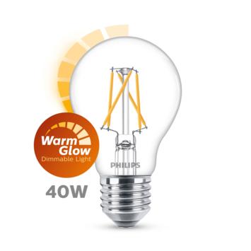 Philips LED peer E27 40W filament helder warmglow dimbaar