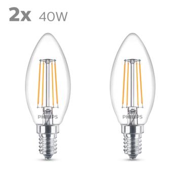 Philips LED kaars E14 duopack filament helder niet dimbaar