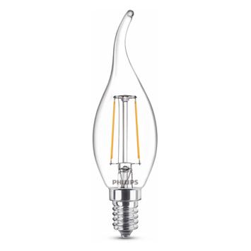Philips LED kaars benttip E14 25W filament helder niet dimbaar