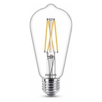 Philips LED edison E27 60W filament helder warmglow dimbaar