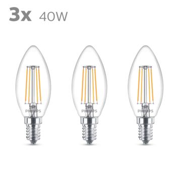 Philips LED kaars E14 40W 3 stuks filament helder niet dimbaar
