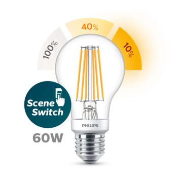 Philips LED peer E27 60W sceneswitch filament helder