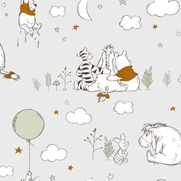 Papierbehang Winnie the pooh - Omhoog en weg (dessin 108954)